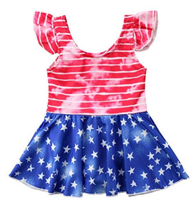 StylesILove Toddler Little Girls Stars Stripes US Flag Design Ruffle One-Piece Swimsuit Holiday Bathing Suit Beach Swimwear