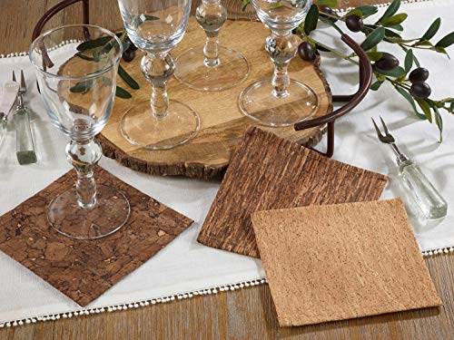 Fennco Styles Unique Cork and Poly Blend Design Decorative Coasters 6-Inch Square, Set of 4 - Brown Cocktail Napkins for Dining Room, Banquets, Special Events and Home Decor