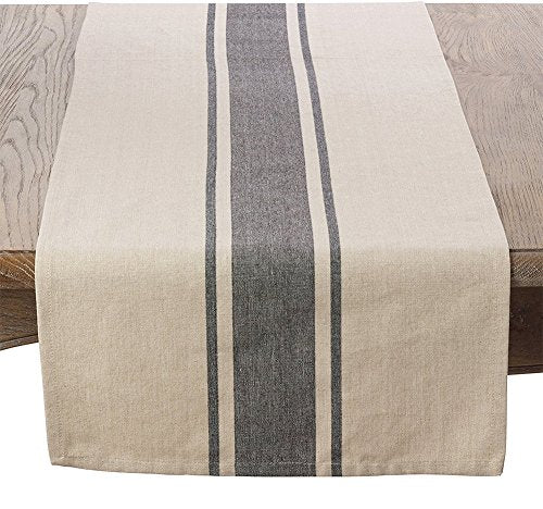"Fennco Styles Aulaire Banded Design 100% Cotton Table Runner 16"" W x 72"" L - Striped Table Cover for Home, Dining Room Decor, Banquets, Family Gathering and Special Occasion"