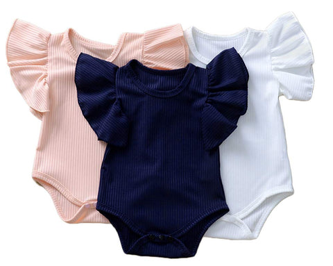 Styles I Love Infant Baby Girl Ruffle Sleeves Basic Romper Stripe Textured Jumpsuit Spring Summer Casual Outfit