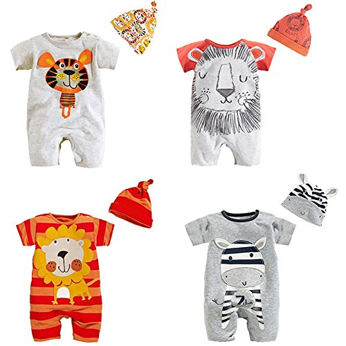 stylesilove Newborn Infant Toddler Cute Animal Baby Costume Jumpsuit and Hat 2pcs Cotton Romper Outfit