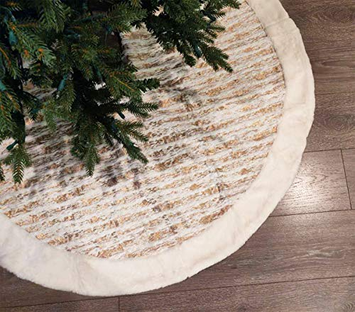 Fennco Styles Holiday Brushed Foil Print Faux Fur Christmas Tree Skirt