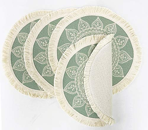 Fennco Styles Unique Dream Catcher Fringe Cotton Placemats 14-inch Round, Set of 4