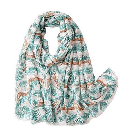 StylesILove Women Spring Summer Tropical Palm Leaf Leopard Printed Lightweight Cotton Scarf Wrap Shawl
