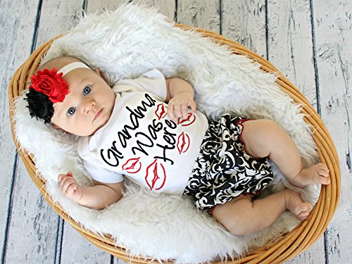 Baby Girls Grandma was Here Cotton Romper with Shorts and Headband 3pcs