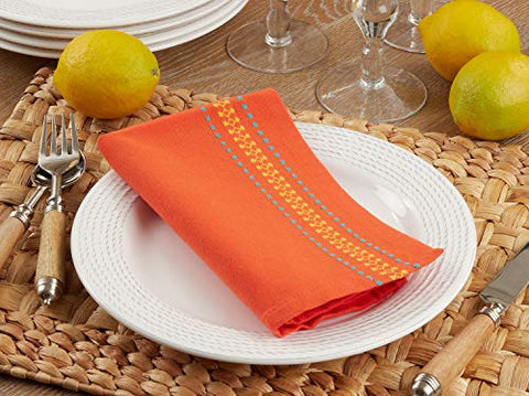 "Fennco Styles Dobby Border Woven Cotton Table Cloth Napkins 20"" W x 20"" L, Set of 4 - Multicolor Dinner Napkins for Home, Dining Table Décor, Family Gathering, Banquets and Special Events"