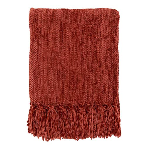 "Fennco Styles Soft Knitted Chenille Fringe Design Throw Blanket 50"" W x 60"" L – Rust Blanket for Couch, Bedroom and Living Room Décor"