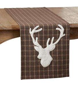 "Fennco Styles Brown Lodge Plaid Reindeer Table Runner 16"" W x 72"" L"