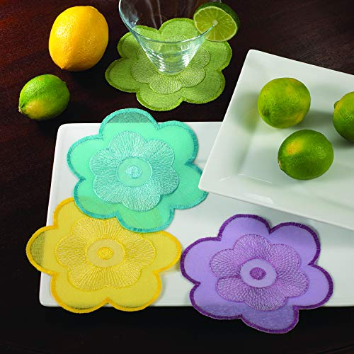 Fennco Styles Couleurs Jardin Flower Decorative Coaster 6 Inch - Floral Doilies for Home Decor, Dining Table, Banquets and Everyday Use