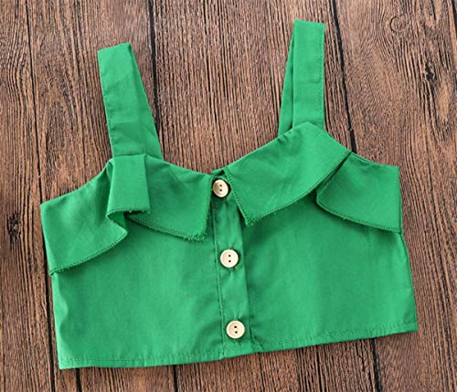 Styles I Love Toddler Girls Green Crop Top and Asymmetrical Ruffle Skirt 2pcs Spring Summer Outfit