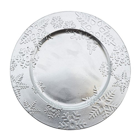 "Fennco Styles Holiday Christmas Snowflake Design 13"" Decorative Charger Plate-Set of 4"