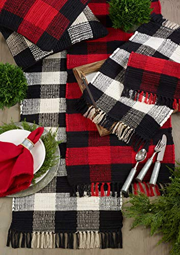 Fennco Styles Gênes Collection Buffalo Plaid Chindi 100% Cotton Table Runner