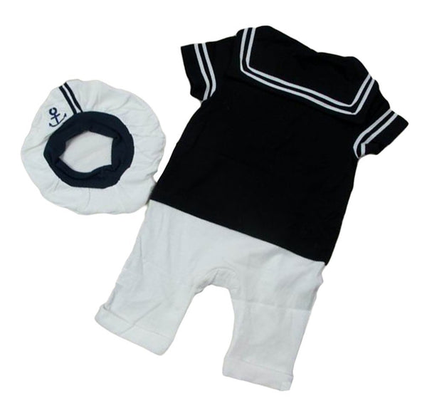 StylesILove Baby Boy Sailor Costume Romper and Hat 2-Piece Outfit