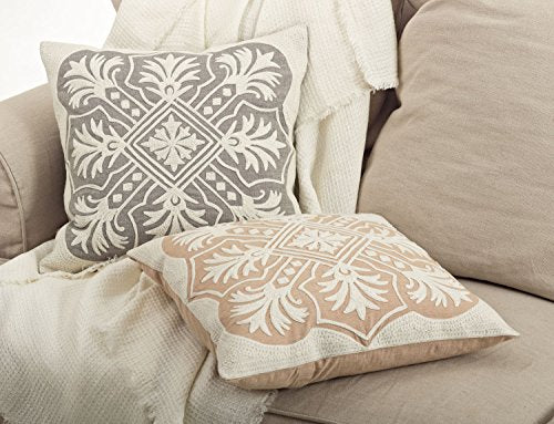 Fennco Styles Gabriela Embroidered Decorative Throw Pillow 2 Colors