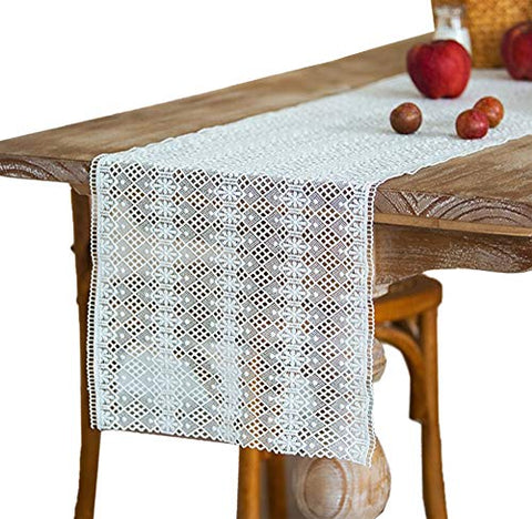 "Fennco Styles Embroidered Geometric Floral Hollow Lace White Table Runner 14"" W x 71"" L"
