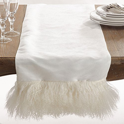Fennco Styles Elegant Mongolian Lamb Fur Table Runner -3 Colors
