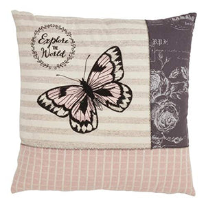 "Fennco Styles Explore The World Butterfly Decorative Throw Pillow Cover 18"" W x 18"" L - Pink Square Cushion Case for Christmas, Home, Couch, Office, Living Room Décor"