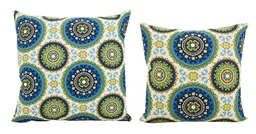 Fennco Styles Kaleidoscope Medallion Filled Decorative Throw Pillow – Crisp Blues & Citrons Cushion for Couch, Sofa, Bedroom, Office and Living Room Décor