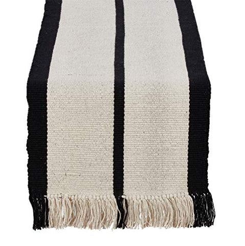 "Fennco Styles Heavy Rug 100% Woven Cotton Black Striped Natural Table Runner with Thick Fringe, 16""x72"" Rectangular"