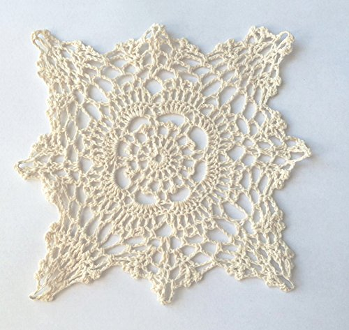 Fennco Styles Handmade Crochet Lace Cotton Doilies - 6-inch Square - 4-Pack