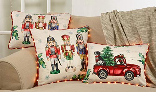 Fennco Styles Christmas Nutcracker Design with LED Lights Piping Decorative Throw Pillow
