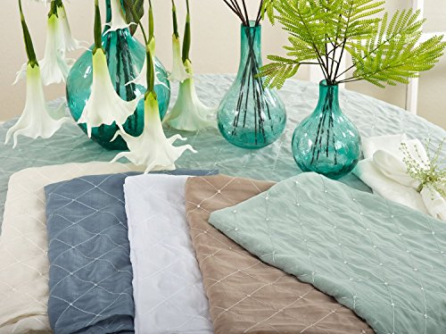 "Fennco Styles La Belle Epoque Stitched Sheer Tablecloth, 5 Colors (Blue-Grey, 84""x84"")"