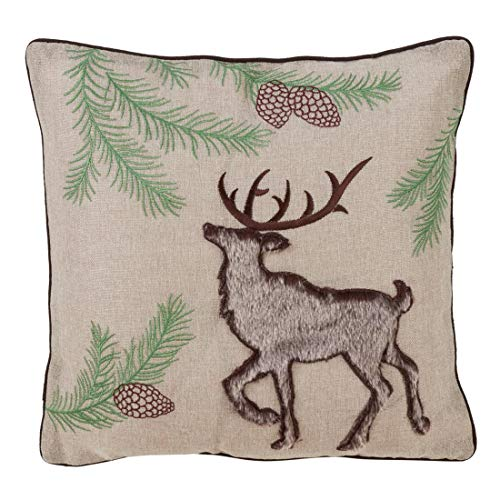 Fennco Styles Faux Fur Reindeer Embroidered 16-inch Down Filled Decorative Throw Pillow