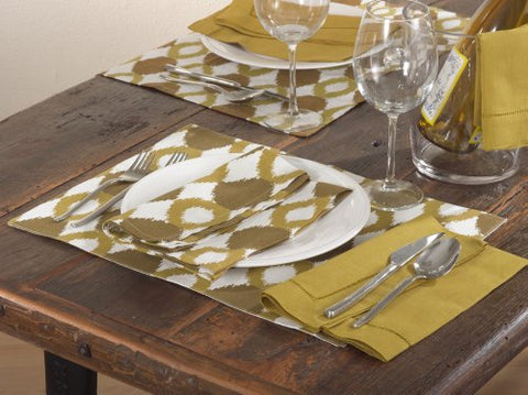 Mosanique Ikat Design Chartreuse Traycloth Placemat, 100% Cotton, Set of 4