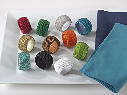 Fennco Styles Hand Beaded Napkin Ring 11 Colors - Set of 4
