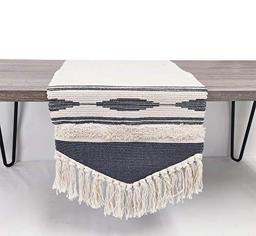 Fennco Styles Geometric Design Canvas Cotton Table Runner with Tassels