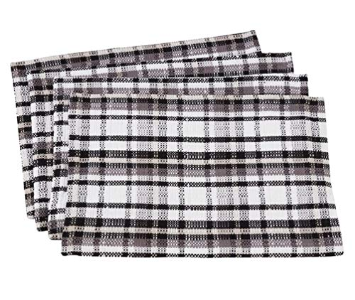 Fennco Styles Picnic Plaid Cotton Placemats 13 x 19 Inch, Set of 4 - Black & White Woven Table Mats for Home, Dining Table, Banquet, Family Gathering and Special Occasion