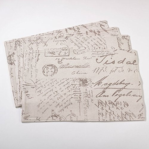 "Fennco Styles Old Fashioned Script Print Design Table Placemat (14""x20"" Placemat-Set of 4)"
