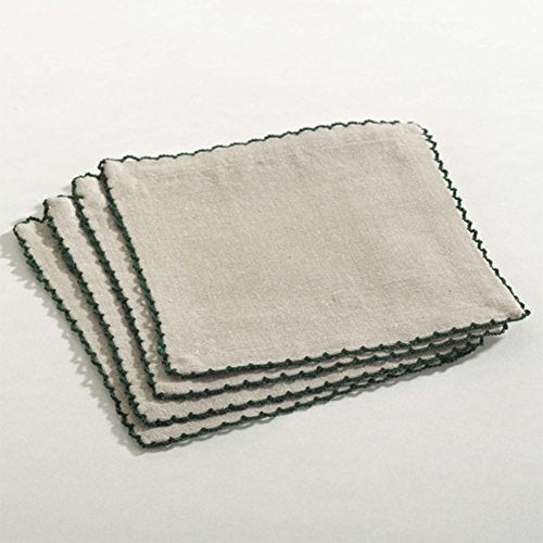 Cameron Scalloped Design Cotton Napkins, Set of 4, Square