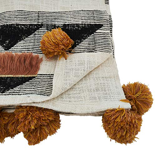 "Fennco Styles Sevan Collection Bohemian Appliqué Fringe with Pompoms 100% Cotton Throw Blanket  48""W x 72""L"