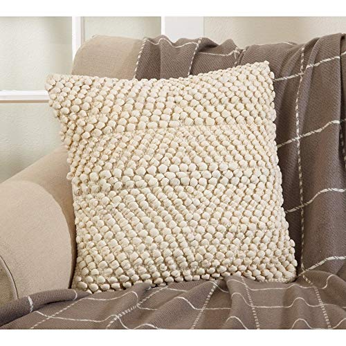Fennco Styles Knotted Design Down Filled 18 Inch Square Cotton Decorative Throw Pillow 18 Inch for Couch, Sofa, Bedroom, Office and Living Room Décor