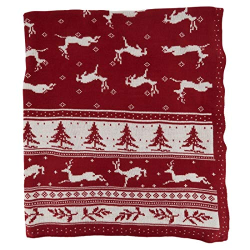 "Fennco Styles Reversible Christmas Design Knitted Throw Blanket 50"" W x 60"" L – Red Blanket for Bed, Couch, Sofa, Home Décor, Ideas"