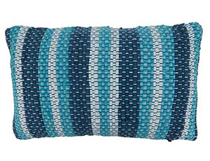 Fennco Styles Blue Striped Chindi Decorative Cotton Throw Pillow