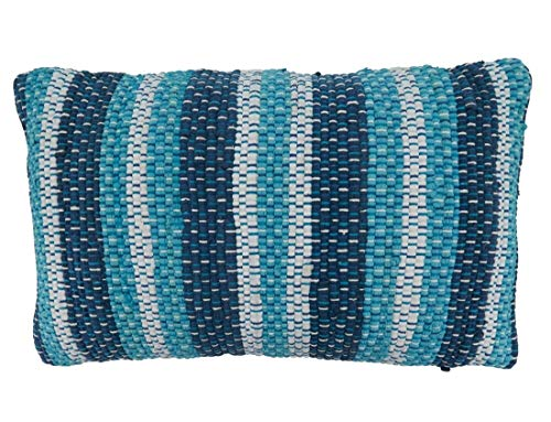Fennco Styles Striped Chindi Decorative Cotton Filled Throw Pillow - Blue Textured Cushion for Home, Couch, Living Room and Office Décor