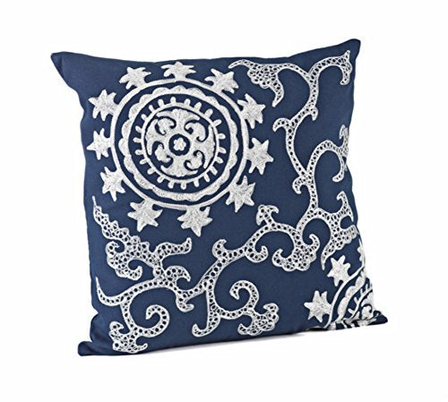 "Fennco Styles Embroidered Medallion Cotton Down Filled Decorative Throw Pillow 18"" W x 18"" L"