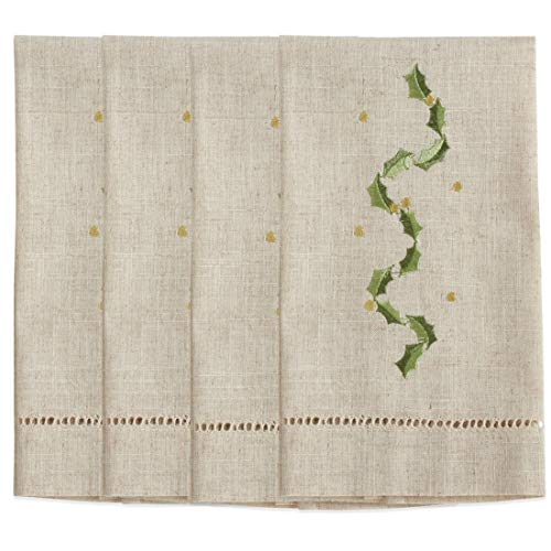 Fennco Styles Embroidered and Hemstitched Design Holly Leaf Linen-Poly Guest Towels 14 x 22 Inch, Set of 4 – Natural Modern Hand Towels for Christmas, Bathroom Decor, Bar Accessories, Wedding Gift