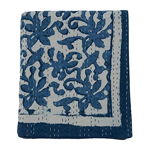 Fennco Styles Luxury Floral Stitch Cotton 50 x 60 Inch Throw with Block Print Design – Indigo Blue Throw Blanket for Bed, Couch, Sofa, Home Décor, Ideas