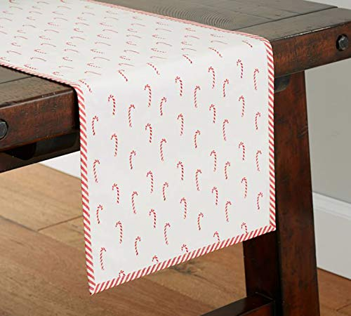 Fennco Styles Bonbon Collection Holiday Candy Cane Stripe Trim 100% Cotton 16 x 72 Inch Table Runner