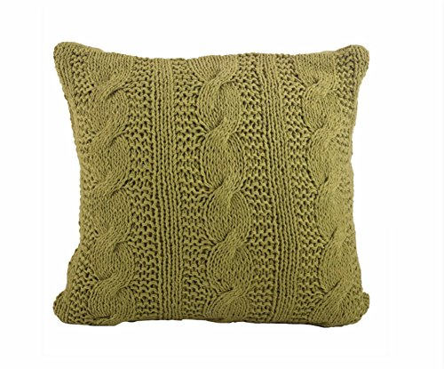Fennco Styles Cable Knit Design Cotton Throw Pillow 20 x 20 Inch Throw Pillow for Home, Couch, Living Room and Bedroom Decor