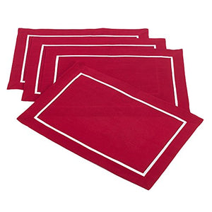 Fennco Styles Classic Pleated Red Placemat, Set of 4