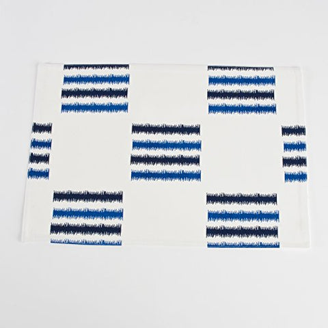 Sonya Line Printed Fused Traycloth Placemat, Set of 4 (Cobalt blue)