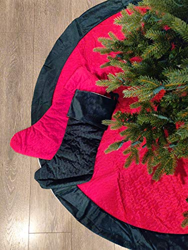 Fennco Styles Vintage Velvet Allover Tree Pattern Tree Skirt - Red & Green Christmas Tree Skirt for Holiday, Home Decor, Family Gathering and Special Occasion