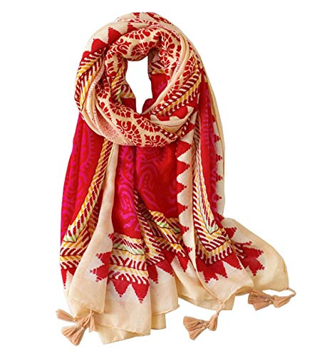StylesILove Spring Summer Damask Paisley Printed Lightweight Tassel Scarf Wrap Shawl for Women Girls