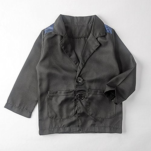 stylesilove Plaid T-Shirt, Jacket and Pants 3-pc Boy Clothing Set (8) Blue