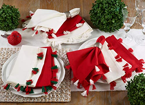 Fennco Styles Holiday Christmas Decorative 100% Cotton Napkins with Tassel - Set of 4