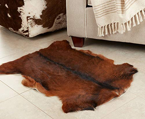 Fennco Styles Glamour Goat Fur 24 x 35 Inch Throw Rug - Brown Area Rug for Home Décor, Bedroom, Living Room, Floor Décor, Sofa, Couch and Any Special Occasion